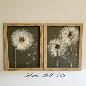 Rustic decor - Set of dandelion, farm house style wall art