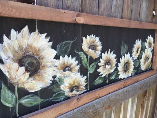 White sunflower,Farmhouse style decor,hand painted,original art on window screen,indoor and outdoor decor ,wall art,flowers