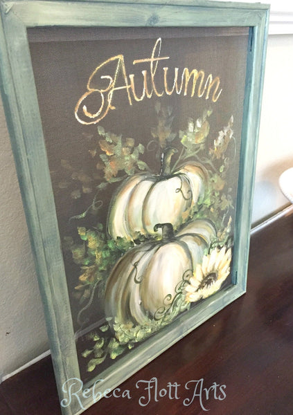 White Pumpkin, Fall white decor,Autumn Art,Farmhouse style,Fall rustic decor, Window screen hand painting ,original wall art, porch decor