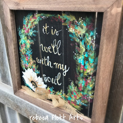 Its well with my soul, window screen, screen art, wreath, patio art, hand painted, handmade