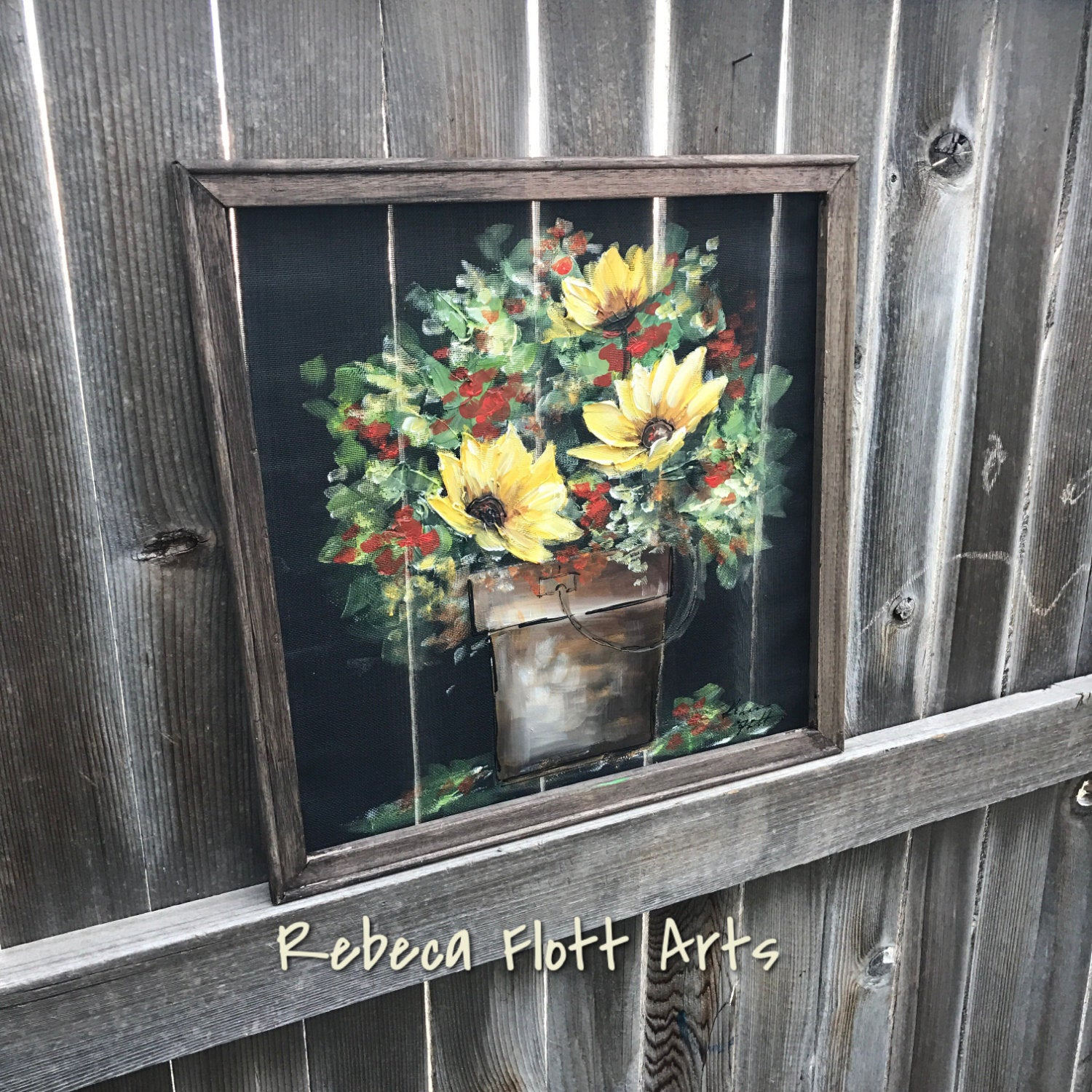 Flowers on the bucket , handpainted on window screen , indoor and outdoor art