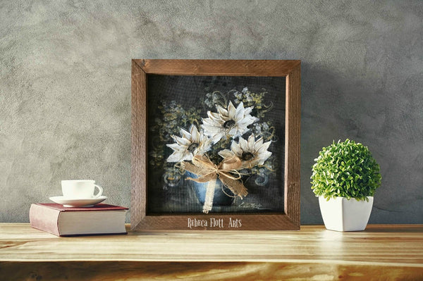 Farmhouse rustic art, white flowers
