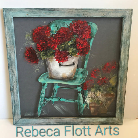 Vintage teal chair with red geraniums, handmade and hand painted