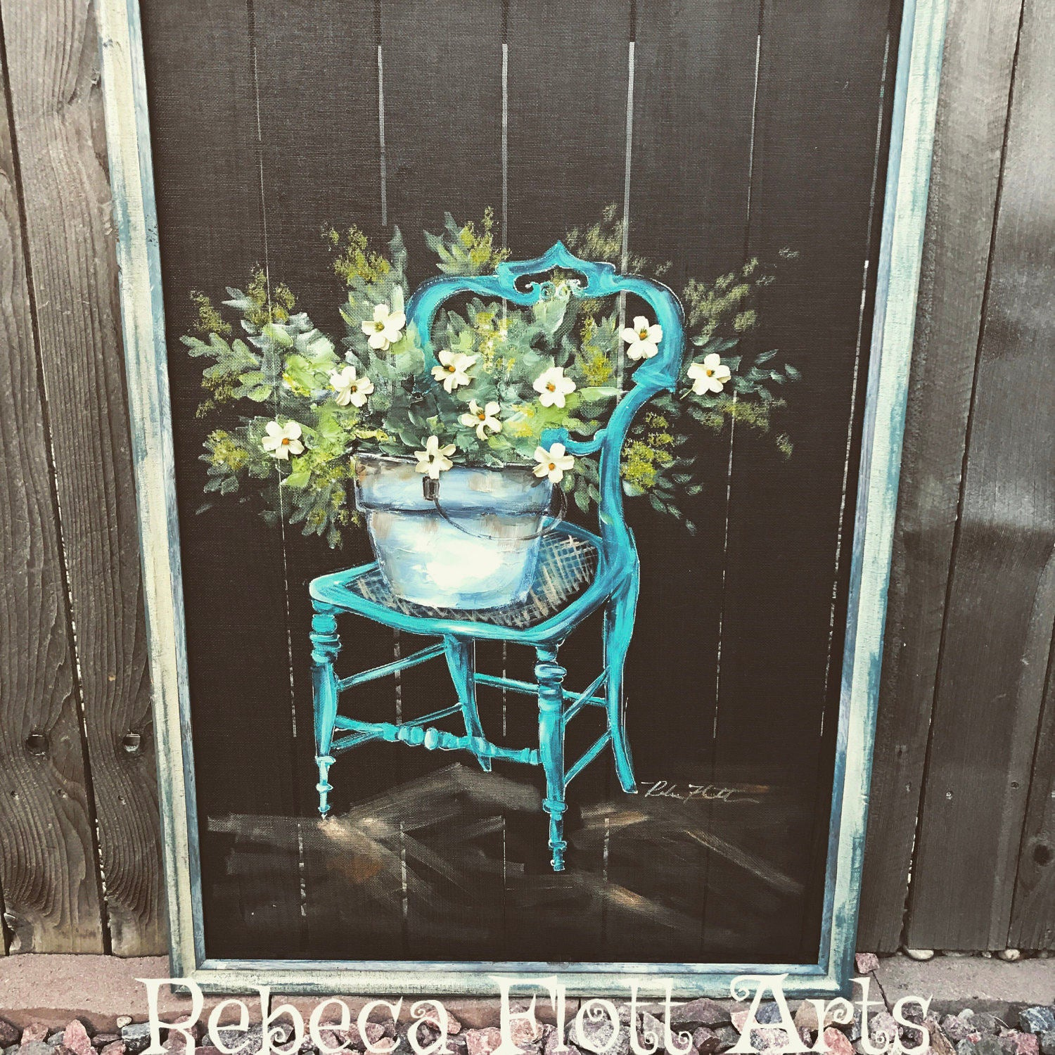 Vintage chair with fresh flowers , upcycled frame, farmhouse style
