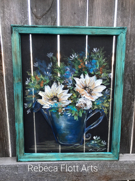 Happy flowers ,Teal Frame,Spring time decor,Porch decor, rustic decor, wall art