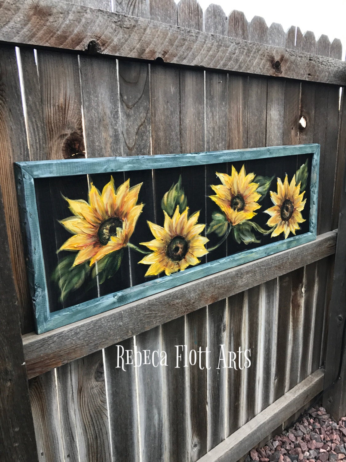 Sunflowers hand painted window screen, perfect porch decor wall art, rustic