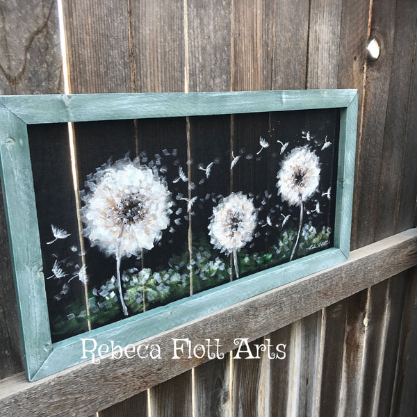 Hand Painted, Day dream dandelion , farmhouse style wall art, porch decor , wall art , dandelion
