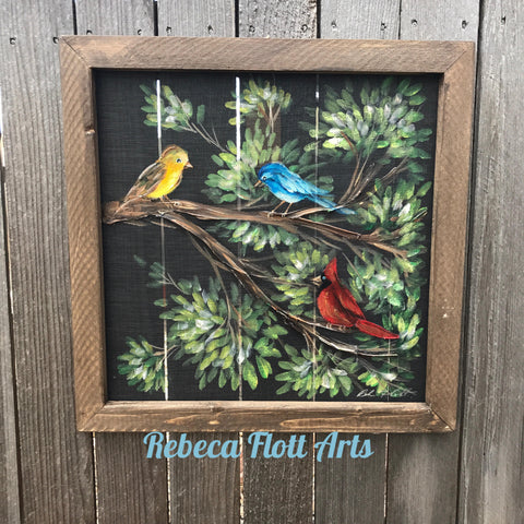 Sweet birds singing, hand painted original  on window screen, porch decor, wall decor, fence decor,rustic art,birds