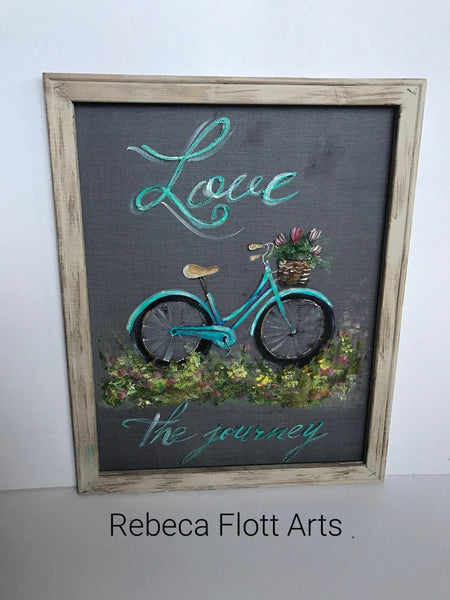 Love the Journey,vintage bike hand painted on window screen
