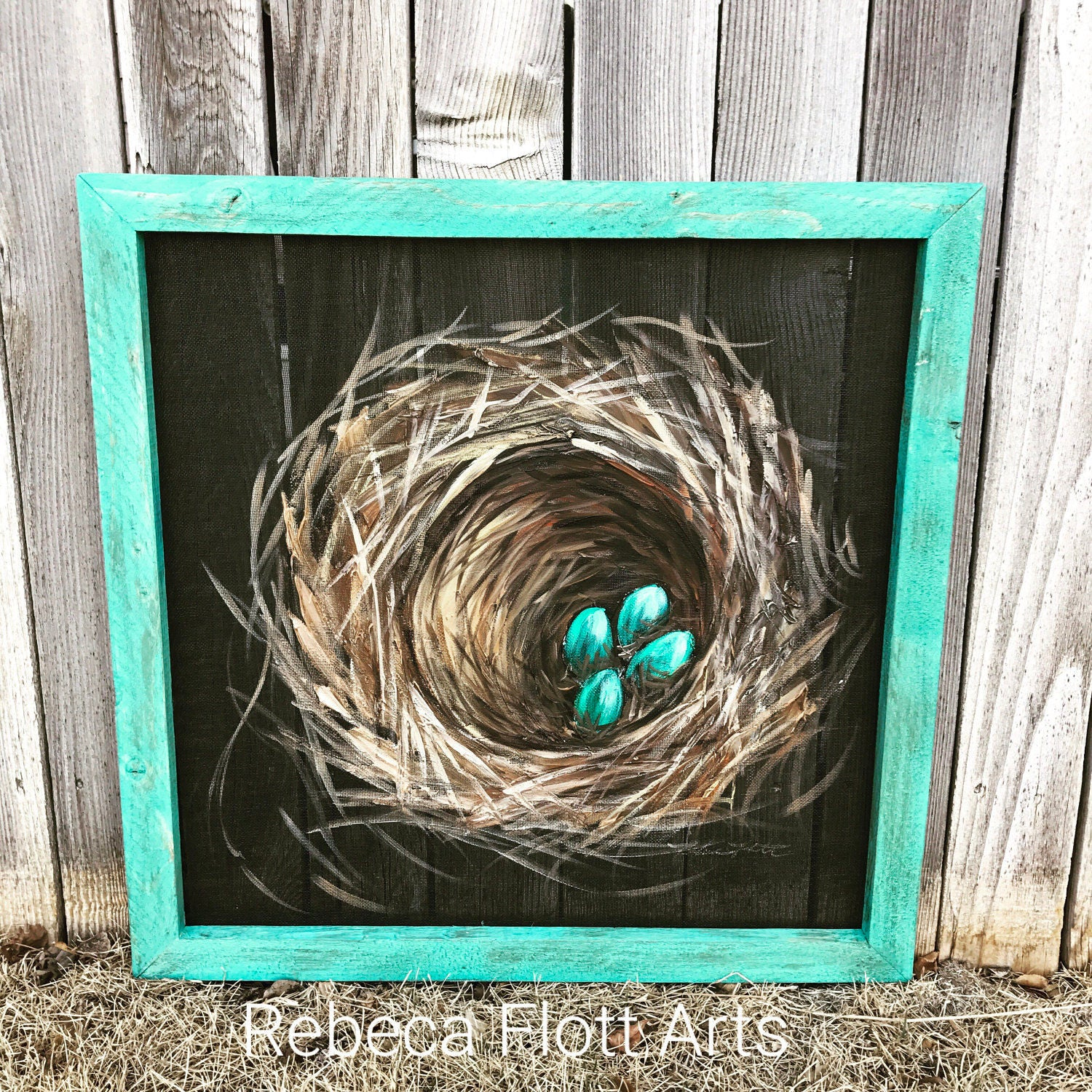 Bless this Nest, Nest painting on window screen with a teal frame