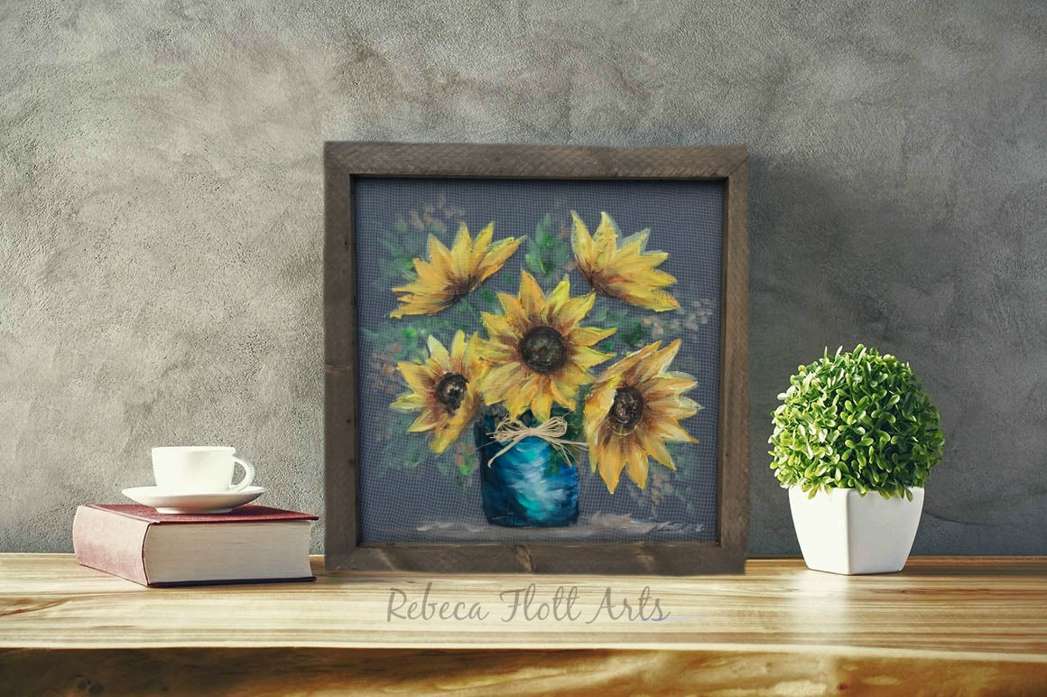 Vase of sunflowers, ORIGINAL, hand painted,SUNFLOWERS