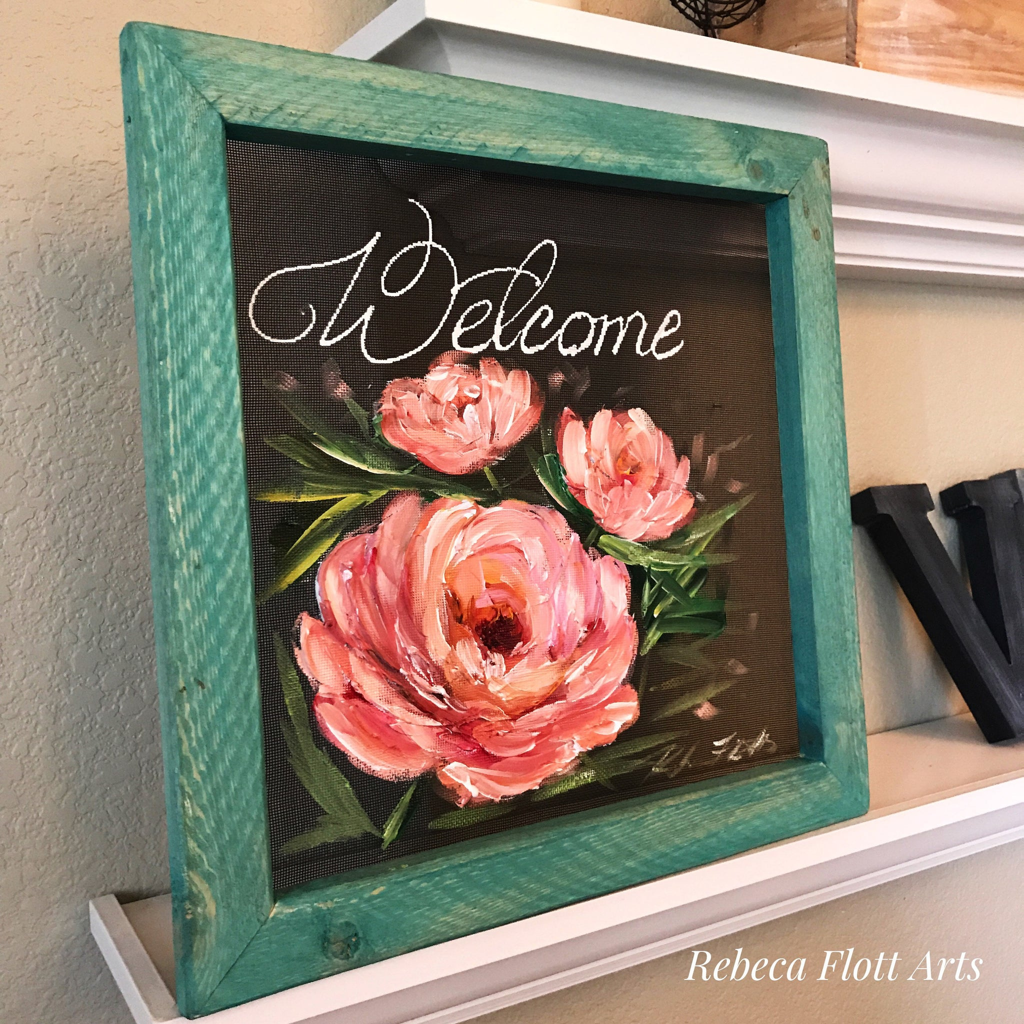 Welcome sign pink peonies, pink peonies