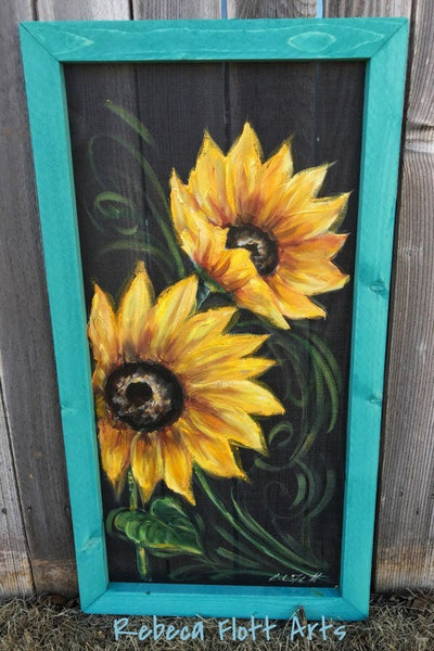 Beautiful summer Sunflower, porch decor,wall art,teal frame ,farmhouse decor, rustic sunflower