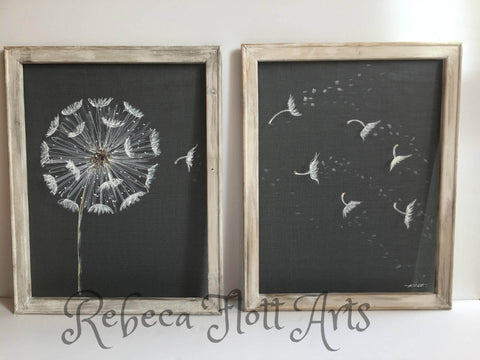 Antique white frame,Dandelion Set of two,Farmhouse style, rustic decor, make a wish,dandelion