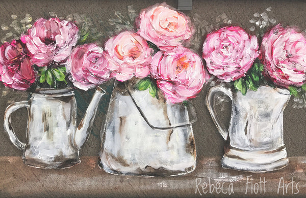 Pink Peonies on vintage tea pot