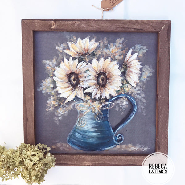White sunflower in vintage vase, Original art , hand painted on screen, wall art, farmhouse style, rustic art