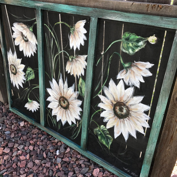 White sunflower - hand painted  on window screen