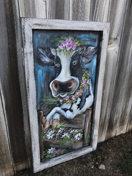 Cow art, fabulously, hand painted on window screen  ORIGINAL ART