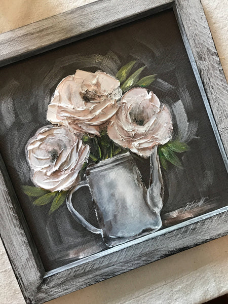 White peonies, white flower wall art, original  art, hand painted on window screen
