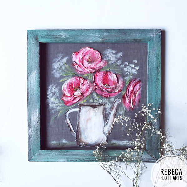 Pink peonies on teal wood frame