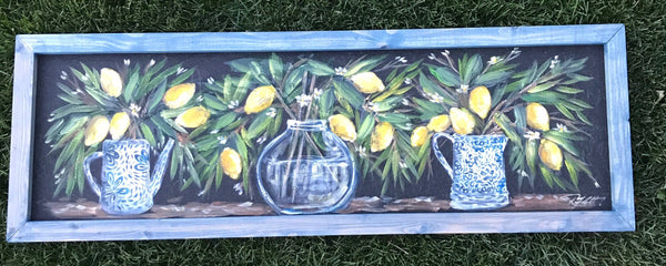 Lemons vase, original, window screen outdoor and indoor art
