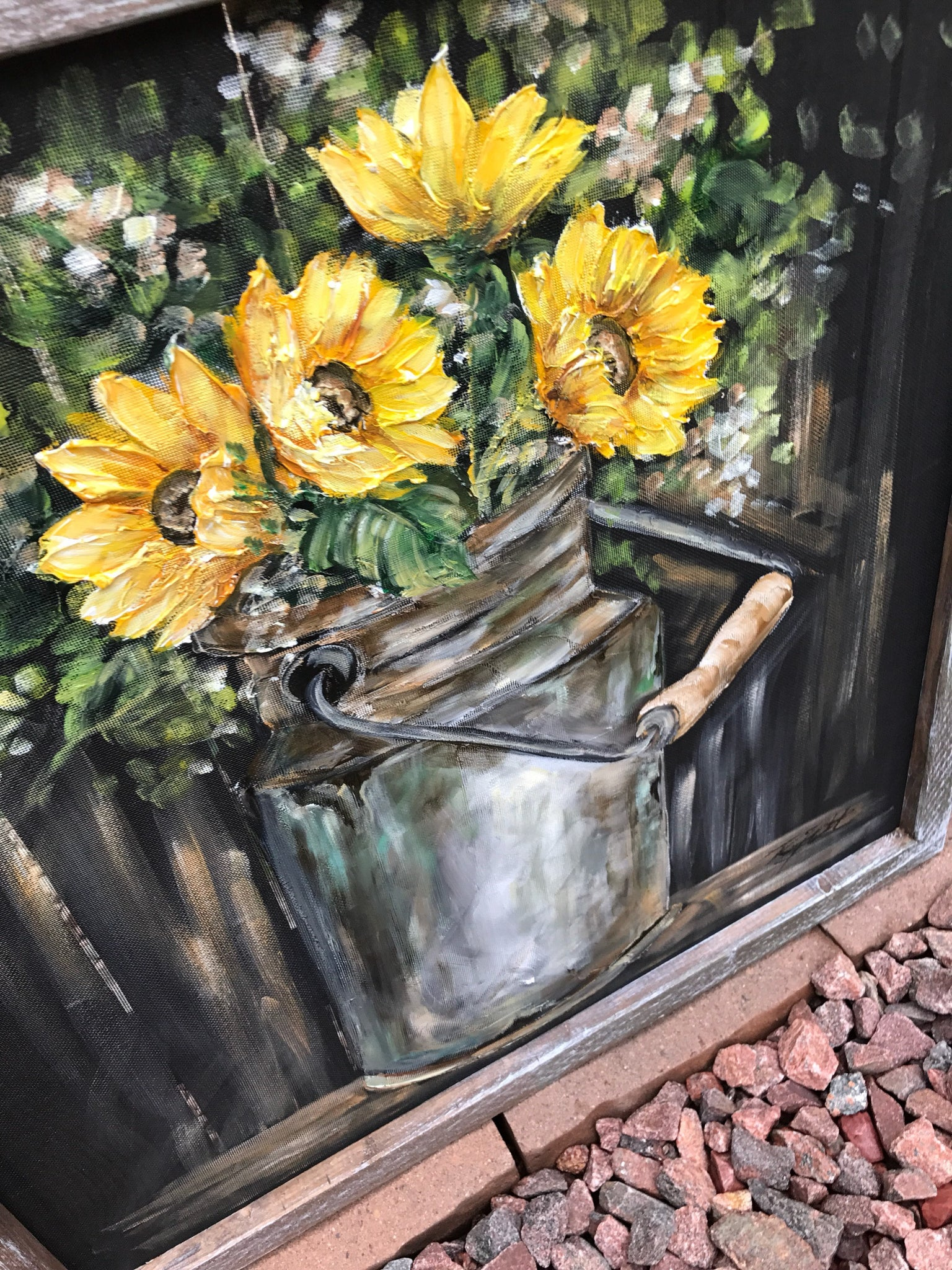 Vintage milk jug with sunflowers
