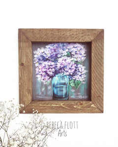 Hydrangeas in majon jar baby size