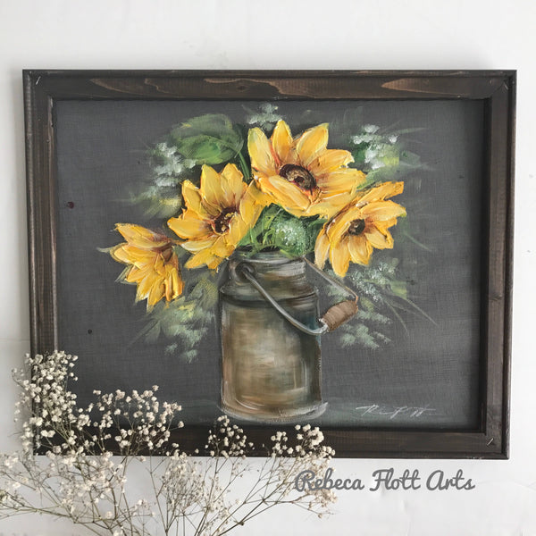 Sunflowers on vintage milk jug