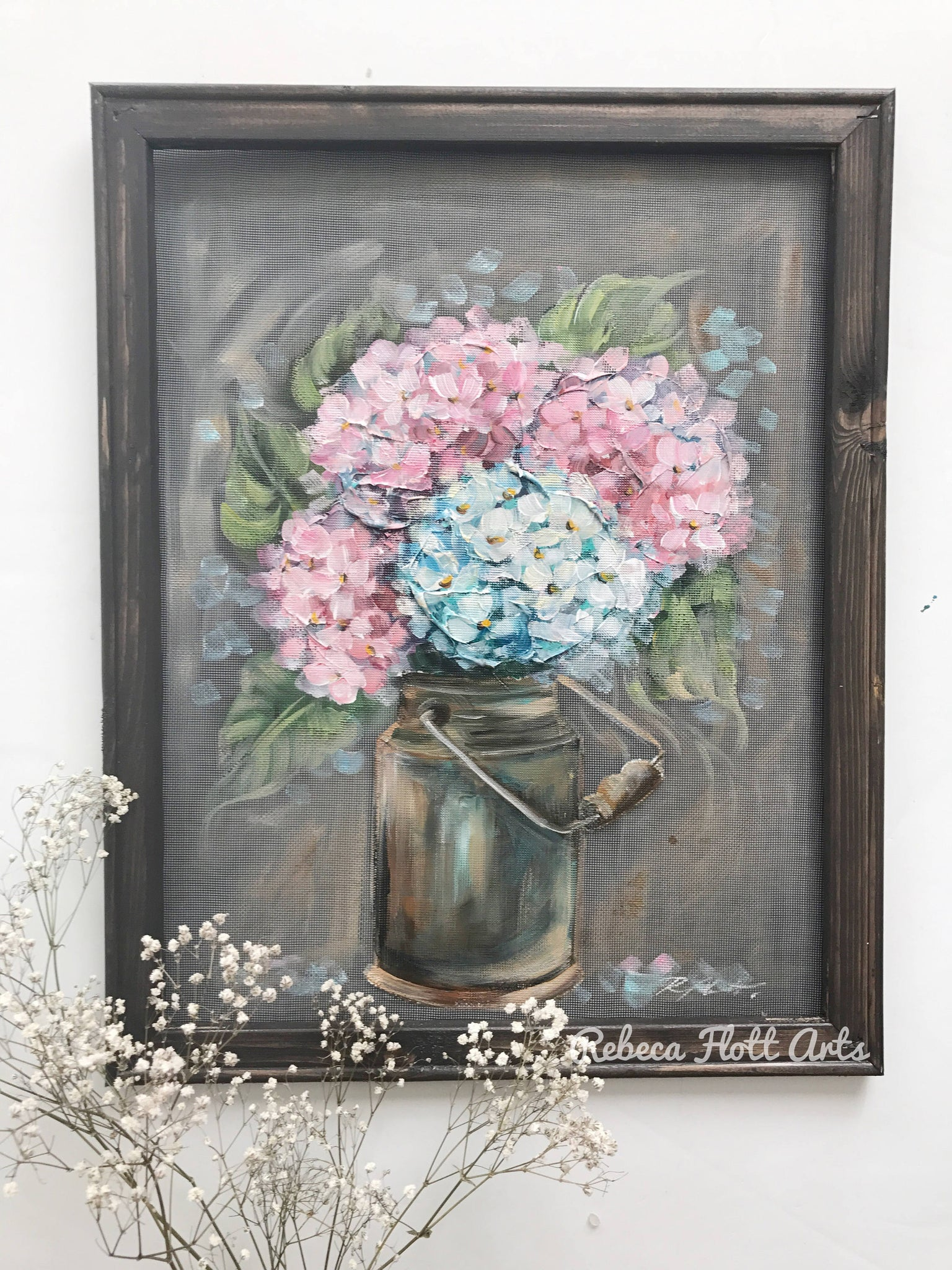 Hydrangeas on a vintage milk jug
