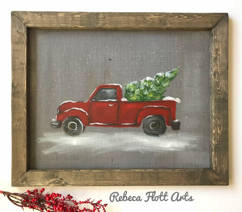 Red truck - Christmas -ready to ship