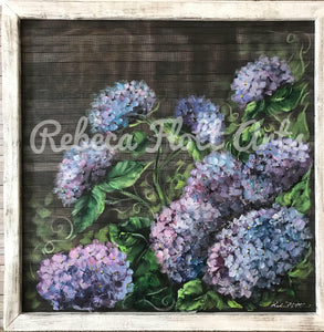 Amazing hydrangeas original work on screens by Rebeca Flott Arts , indoor and outdoor art,stunning!