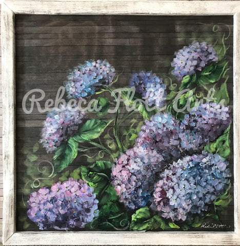 Amazing hydrangeas original work on screens by Rebeca Flott,indoor and outdoor art,stunning!