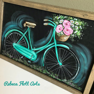 simple beautiful Vintage Bike, Screen Art, Porch decor, Vintage Inspired, Teal Bike, handmade