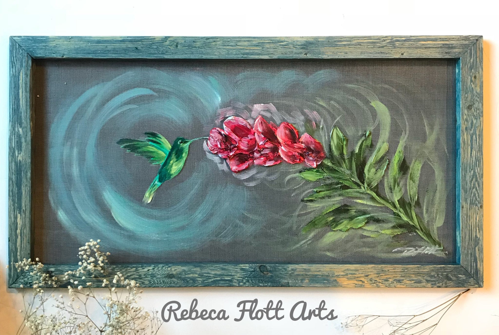 Hummingbird Painting wall ,hand painted hummingbird,window screen art,porch decor,spring decor,outdoor decor