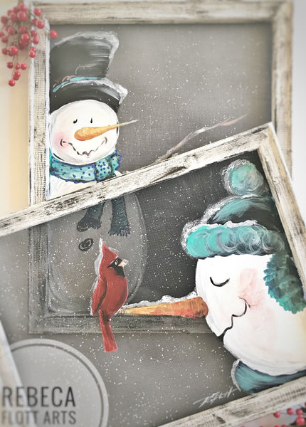 Snowman being a supporter friend, snowman painting on window screen , indoor and outdoor decor