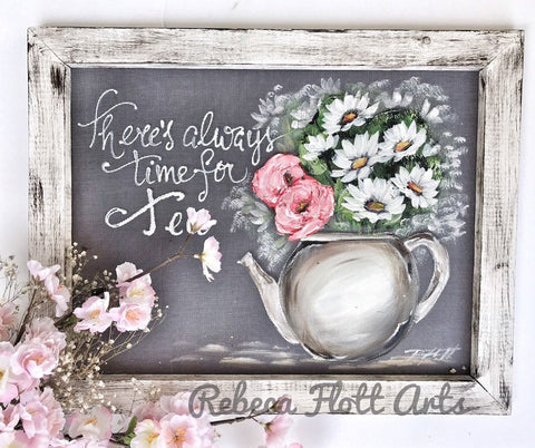 Tea time with friends, rustic farmhouse art