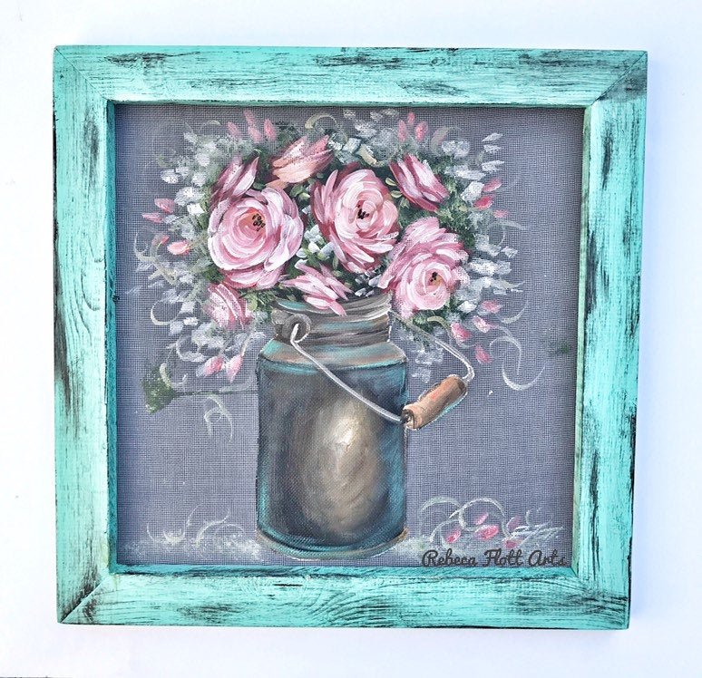Flowers in a jar, original art Rebecaflottarts