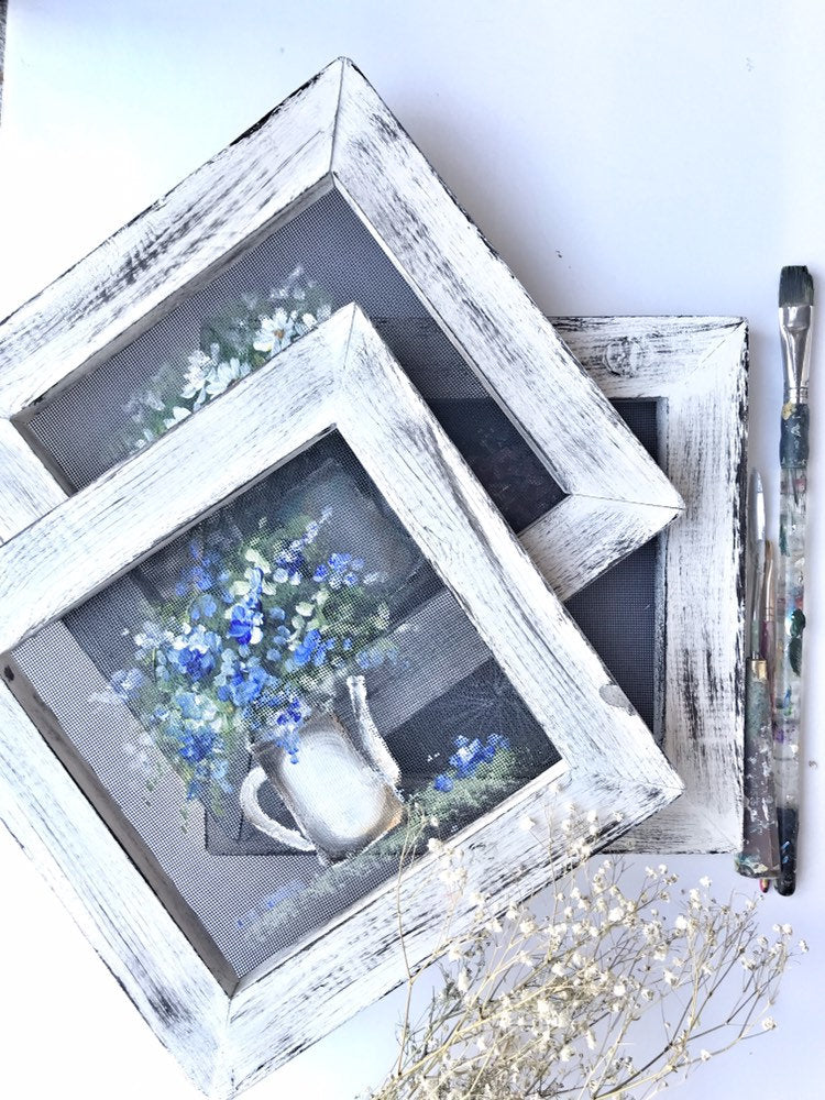 Vintage inspired  jar mini 10x10 blue flowers