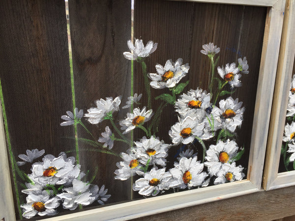 Daisies On White,Set of two Beautiful Daisies, recycled, outdoor and indoor art, flowers,Daisy Flower Painting, Daisy Flower art,