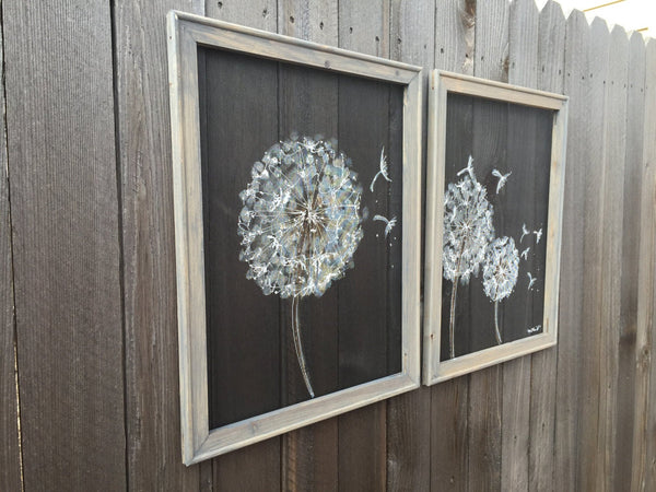 Dandelion Set,SET of Two Recycled screen ,Dandelion Painting ,Dandelion Flower,Wall Art