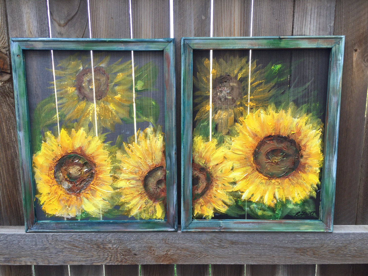 Set of 2 Sunflower Art MADE TO ORDER- Original Art, sunflower,recycled wood frame, painted on screen sunflower painting. sunflower