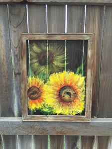 sunflower,sunflower on window screen, hand painting on screen, original art ,Yellow sunflower, Recycled wood frame,Yellow sunflowers