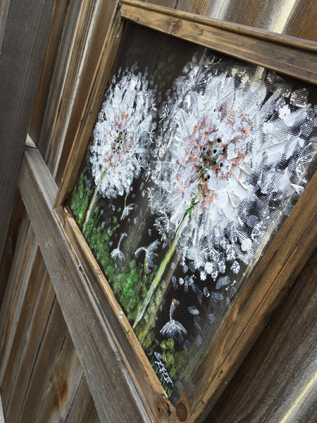 Dandelion hand painting on screen,Rustic Dandelion, outdoor art,hand painting on screen,