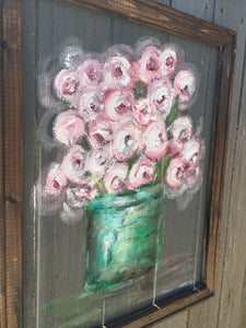 Shabby Chic window screen art,Flowers on window screen ,indoor and outdoor art!