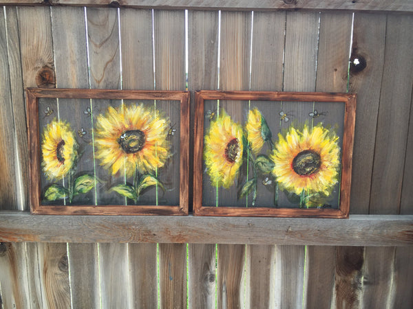 Set of 2 Happy sunflowers and bees, hand painting screens,bees art , sunflowers