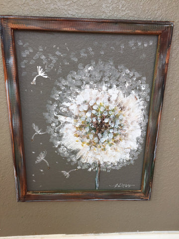 Dandelion on screen,MADE TO ORDER , outdoor art,white dandelion,make a wish,rustic white flower on screen,
