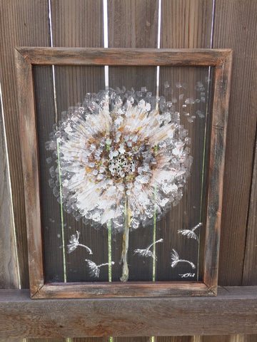 Dandelion,Make a wish, recycled ,hand painting on window screen