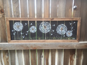 Dandelion art, window screen art,Dandelion garden,outdoor Art,wood frame