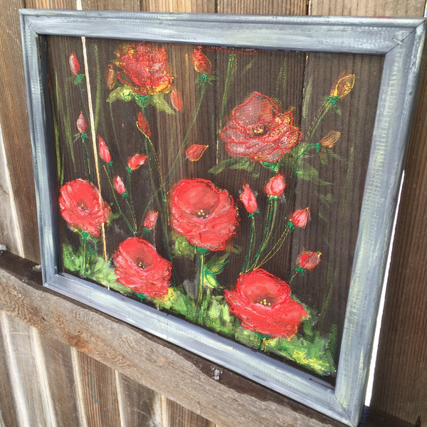 Red poppies, hand painted window screen