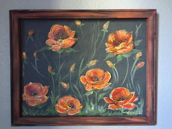 Orange poppies , hand painting in window screen